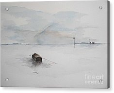 Acrylic Print featuring the painting Lonely Mooring by Sibby S