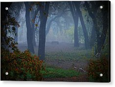 Lonely Park Bench In The Fog Acrylic Print