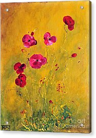 Acrylic Print featuring the painting Lonely Poppies by Teresa Wegrzyn