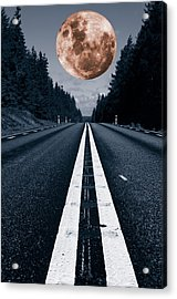 Lonely Road And Full Moon Acrylic Print