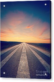 Lonely Road At Sunset Acrylic Print