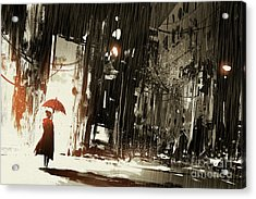 Lonely Woman With Umbrella In Abandoned Acrylic Print