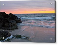 Acrylic Print featuring the photograph Long Beach By The Rocks by Jose Oquendo