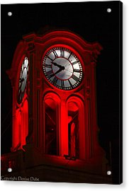 Long Beach Pine Ave. Clock Tower In Red Acrylic Print