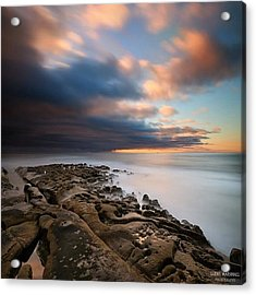 Long Exposure Sunset Of An Incoming Acrylic Print by Larry Marshall