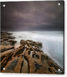 Long Exposure Sunset On A Dark Stormy Acrylic Print by Larry Marshall