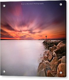 Long Exposure Sunset Shot At A Rock Acrylic Print by Larry Marshall