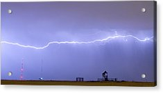 Long Lightning Bolt Strike Across Oil Well Country Sky Acrylic Print by James BO  Insogna