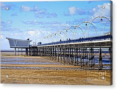 Long Seaside Pier At Southport - England Acrylic Print by David Hill