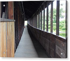 Long Walkway In Covered Bridge Acrylic Print by Catherine Gagne