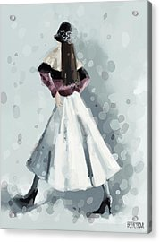 Long White Skirt And Black Sequined Hat Fashion Illustration Art Print Acrylic Print by Beverly Brown
