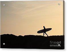 Longboarder Crossing Acrylic Print by Paul Topp