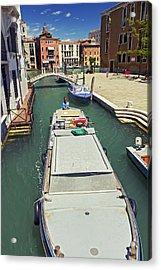 Longboat In Venice Acrylic Print by Rick Starbuck