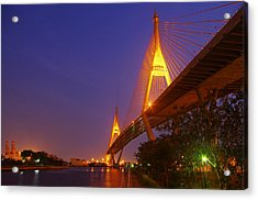 Longest Bridge In Bangkok Acrylic Print by Panitsak Kunwong