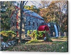 Longfellow's Wayside Inn Grist Mill In Autumn Acrylic Print by Jeff Folger