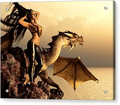 Acrylic Print featuring the digital art Longhaired Biker Chick And Dragon by Kaylee Mason