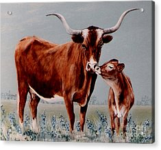 Acrylic Print featuring the painting Longhorn Cow And Calf by DiDi Higginbotham