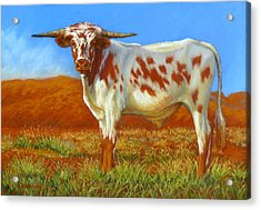 Acrylic Print featuring the painting Longhorn In The Australian Outback by Margaret Stockdale