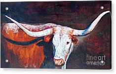 Acrylic Print featuring the painting Longhorn Legacy by Karen Kennedy Chatham
