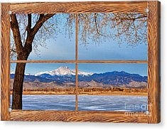 Longs Peak Across The Lake Barn Wood Picture Window Frame View Acrylic Print by James BO  Insogna