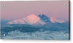 Longs Peak Alpenglow In Winter Acrylic Print by Aaron Spong
