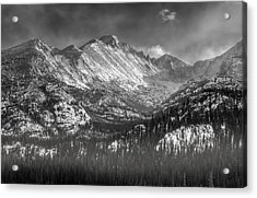 Longs Peak Rocky Mountain National Park Black And White Acrylic Print