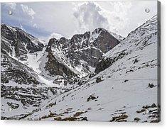 Longs Peak Winter Acrylic Print by Aaron Spong