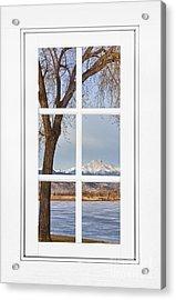 Longs Peak Winter View Through A White Window Frame Acrylic Print
