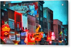 Looking Down Broadway In Nashville Tennessee Acrylic Print by Dan Sproul