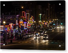 Looking Down Broadway In Nashville Acrylic Print by John McGraw