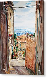 Looking Down The Village Acrylic Print by Becky Kim