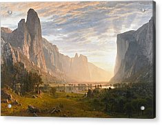 Looking Down Yosemite Valley California Acrylic Print by Albert Bierstadt