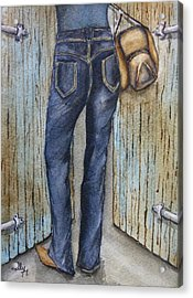 Acrylic Print featuring the painting Blue Jeans A Hat And Looking Good by Kelly Mills