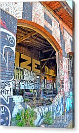Looking Inside The Old Train Roundhouse At Bayshore Near San Francisco And The Cow Palace IIi  Acrylic Print by Jim Fitzpatrick