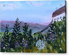 Acrylic Print featuring the painting Looking Out From Top Of Jay Peak  by Donna Walsh