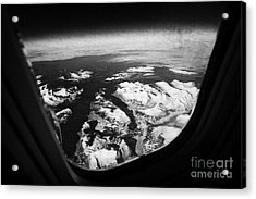 Looking Out Of Aircraft Window Over Snow Covered Fjords And Coastline Of Norway  Acrylic Print by Joe Fox