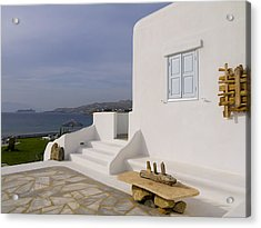 Looking Out To Sea In Mykonos Acrylic Print