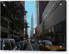 Looking Up Eight Ave In Ny. Ny Acrylic Print by Edward Kocienski