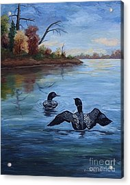 Acrylic Print featuring the painting Loon Dance II by Brenda Thour