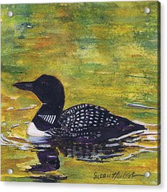 Loon On Jordon Pond Maine Acrylic Print by Susan Herbst