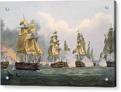 Lord Bridports Action Off Port Lorient Acrylic Print by Thomas Whitcombe