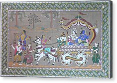 Lord Krishna With Brother Visiting Mathura Acrylic Print by Prasida Yerra