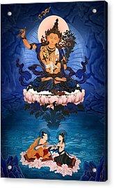 Lord Manjushri - Arya Nargajuna And The Naga Queen Acrylic Print by Ben Christian
