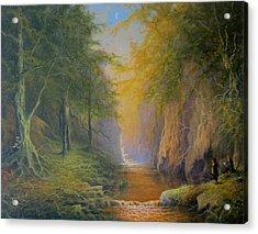 Lord Of The Rings Fangorn Treebeard Merry And Pippin Acrylic Print by Joe  Gilronan