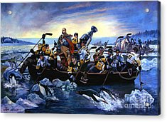 Lord Stanley And The Penguins Crossing The Allegheny Acrylic Print by Frederick Carrow