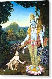 Lord Vishnu Apprears To Dhruva Acrylic Print by Dominique Amendola