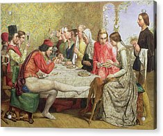 Lorenzo And Isabella Wc On Paper Acrylic Print by Sir John Everett Millais