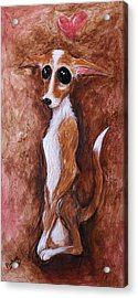 Acrylic Print featuring the painting Loretta Chihuahua Big Eyes  by Patricia Lintner