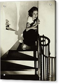 Loretta Young Sitting On A Staircase Acrylic Print