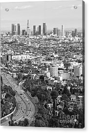 Los Angeles Basin And Los Angeles Skyline Black And White Monochrome Acrylic Print